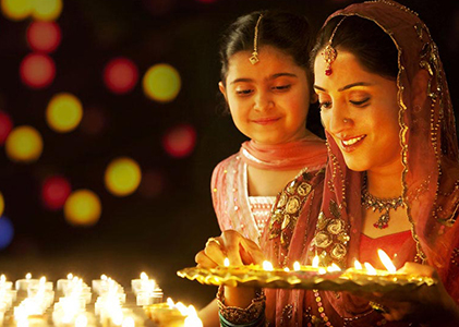 Use diyas instead of electric lights.